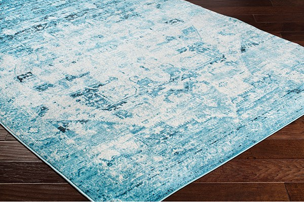 Aqua, Sky Blue, White Vintage / Overdyed Area Rug