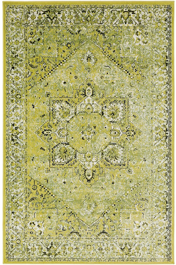 Lime, Black, White Vintage / Overdyed Area Rug