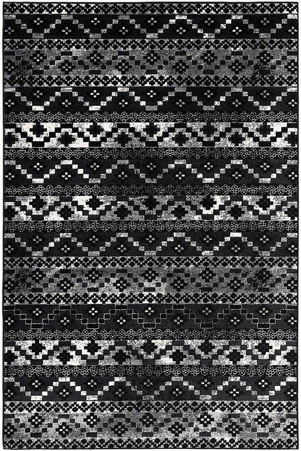 Black, Medium Grey, White Bohemian Area Rug
