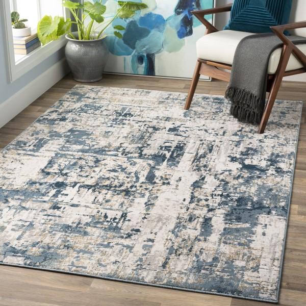 Denim, Dark Blue, Medium Grey (QUA-2303) Contemporary / Modern Area Rug