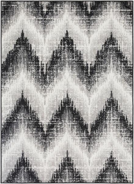 Black, Medium Grey, White Chevron Area Rug