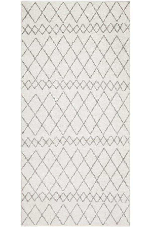 White, Medium Grey Moroccan Area Rug