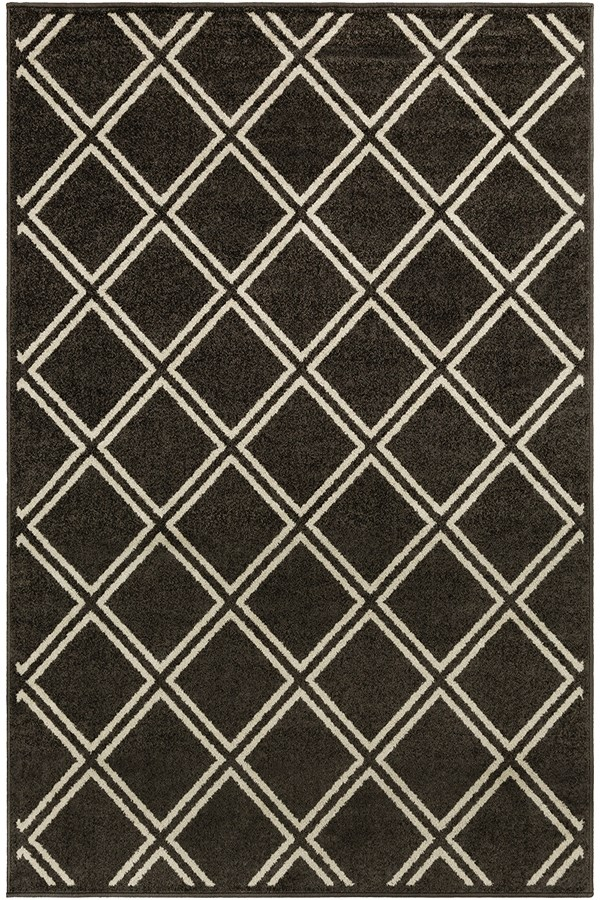 Black, White Geometric Area Rug