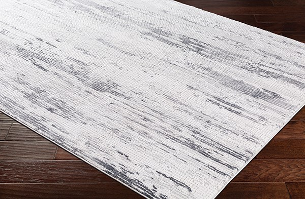 Charcoal, Grey, White Abstract Area Rug