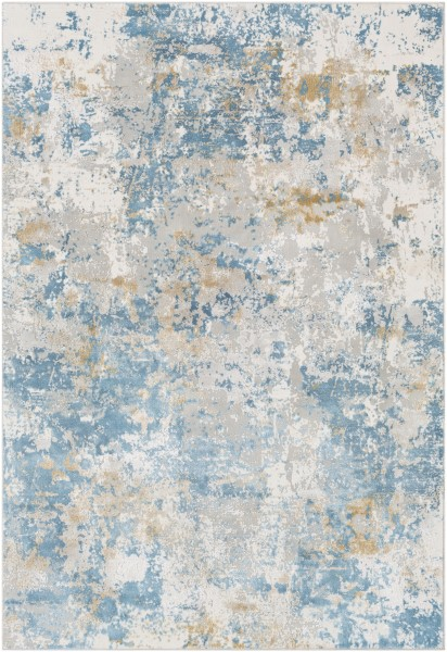 Sky Blue, Mustard, Light Grey Abstract Area Rug