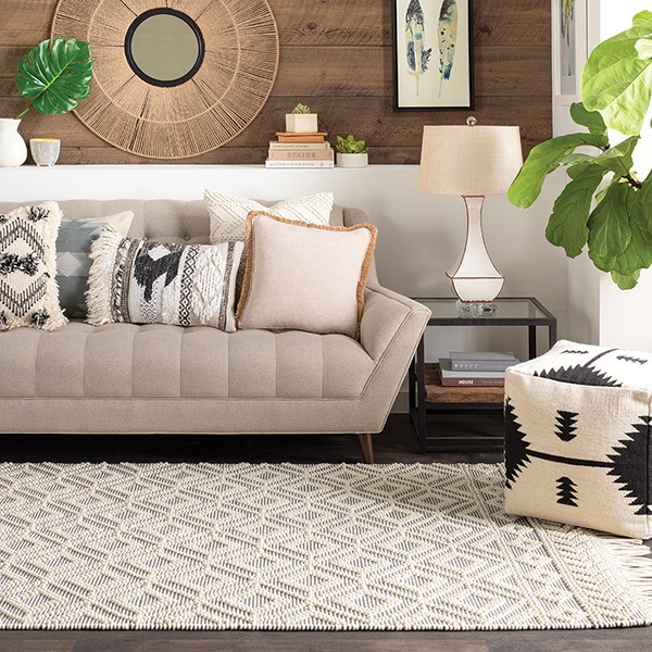 Medium Grey, White Rustic / Farmhouse Area Rug