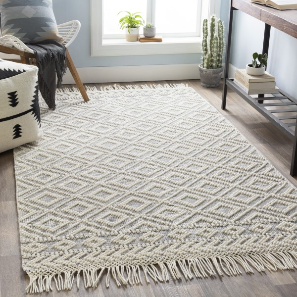 Medium Grey, White Contemporary / Modern Area Rug