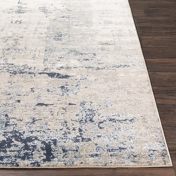 Navy, Charcoal, Grey Abstract Area Rug