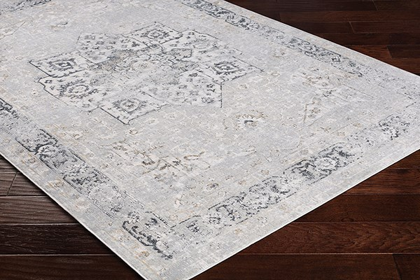 Grey, White, Charcoal Vintage / Overdyed Area Rug