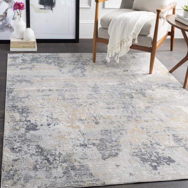 Charcoal, Tan, Grey Abstract Area Rug