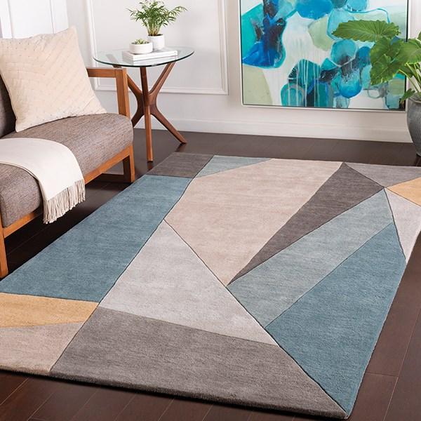 Teal, Grey, Sage Geometric Area Rug