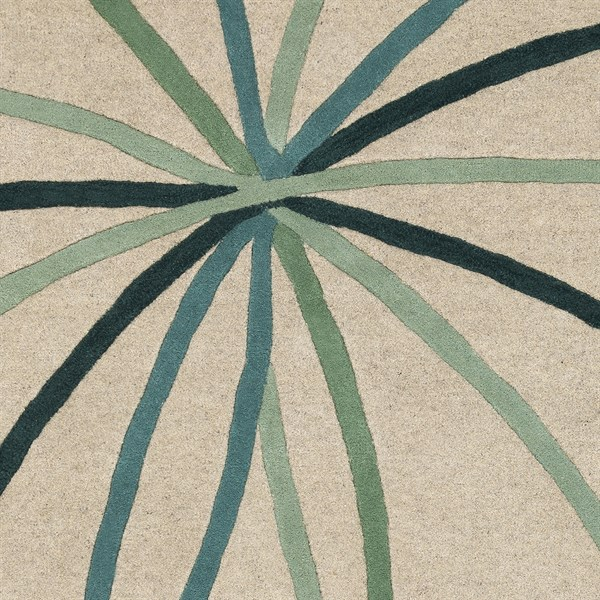 Taupe, Teal, Sage Contemporary / Modern Area Rug