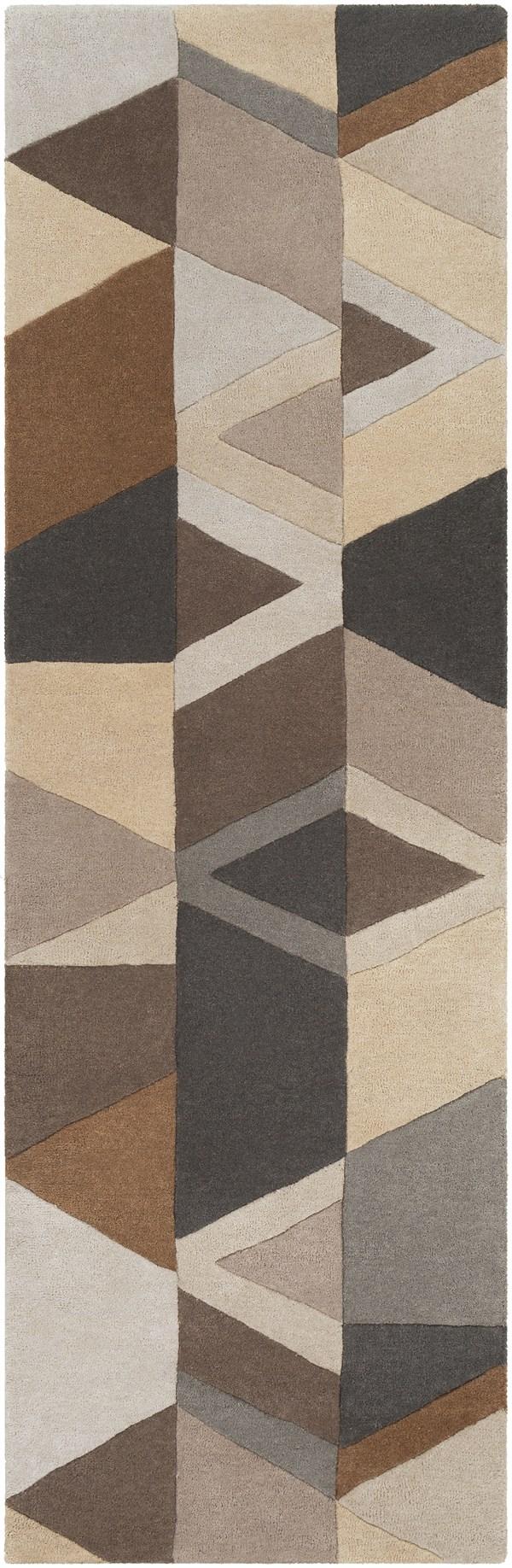 Grey, Ice Blue, Charcoal Geometric Area Rug