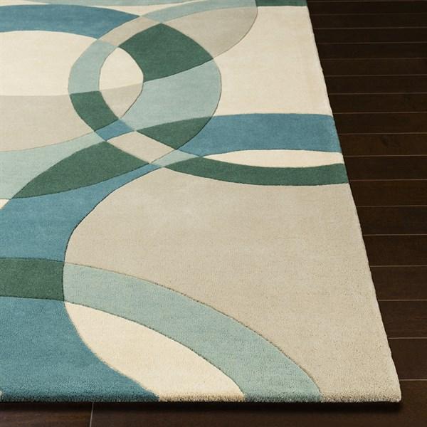 Teal, Aqua, Beige Contemporary / Modern Area Rug