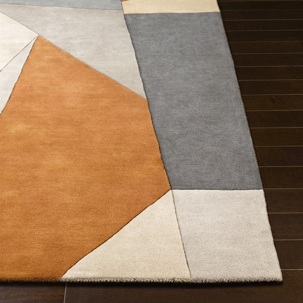 Burnt Orange, Charcoal, Taupe Contemporary / Modern Area Rug