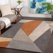 Product Image of Burnt Orange, Charcoal, Taupe Contemporary / Modern Area Rug