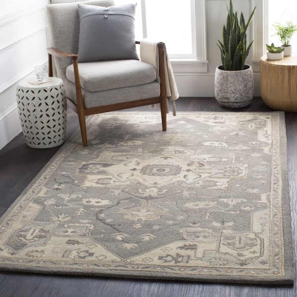 Taupe, Black, Dark Brown Traditional / Oriental Area Rug
