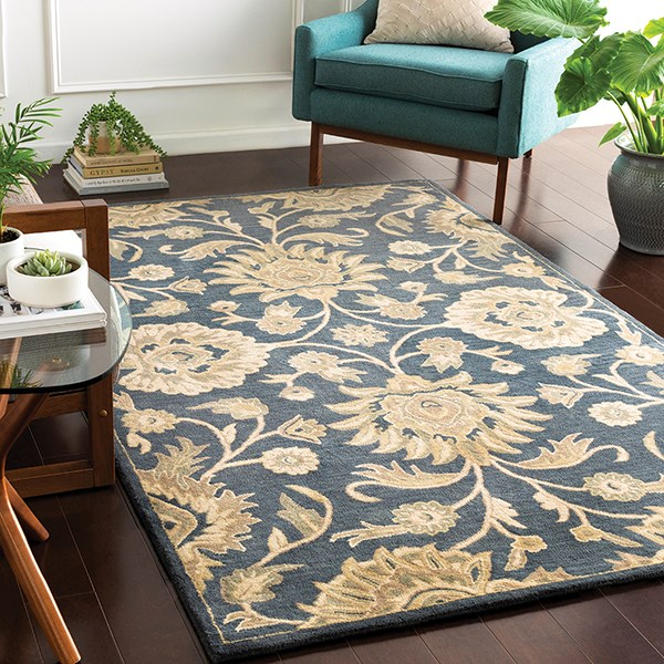 Navy, Tan, Camel Traditional / Oriental Area Rug