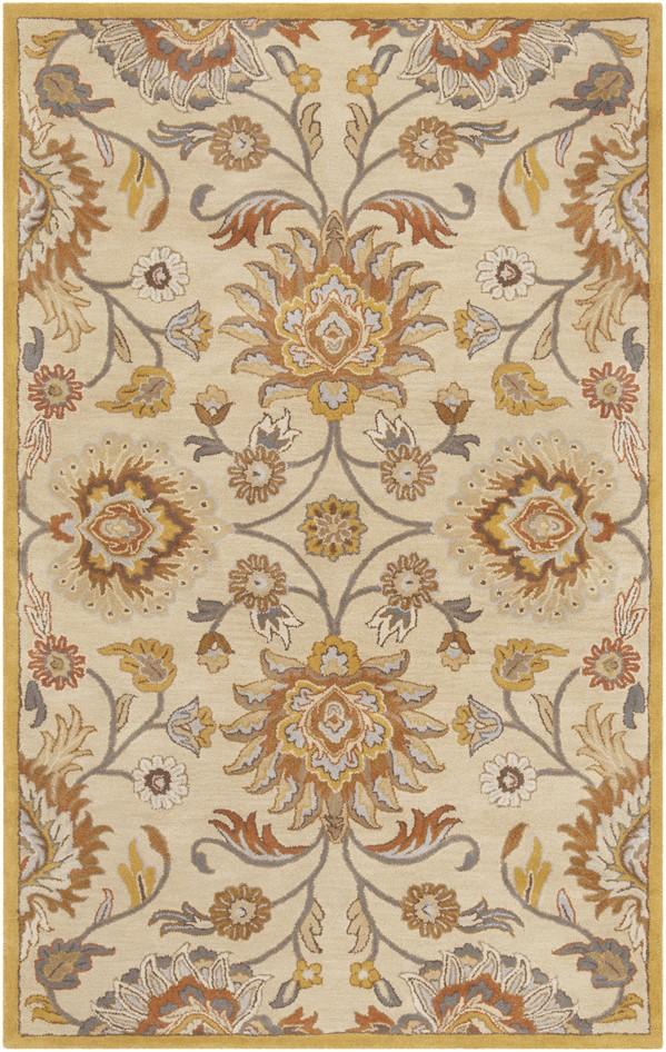 Khaki, Mustard, Charcoal (JUS-1211) Traditional / Oriental Area Rug