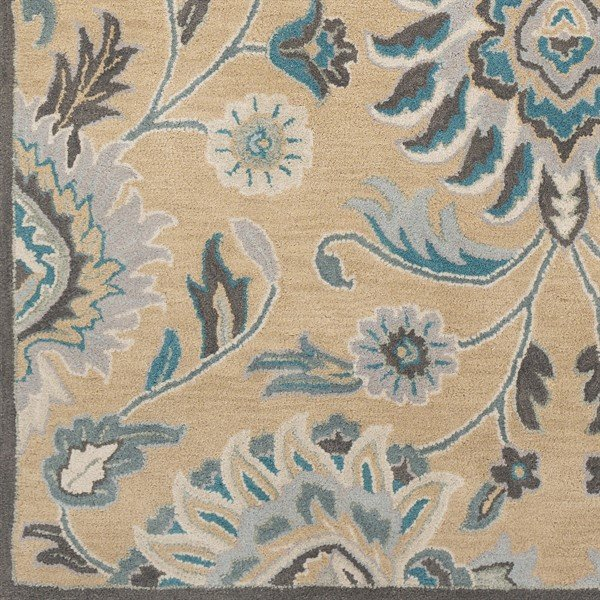 Teal, Light Grey, Charcoal (JUS-1212) Traditional / Oriental Area Rug