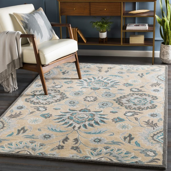 Teal, Light Grey, Charcoal (CAE-1212) Traditional / Oriental Area Rug