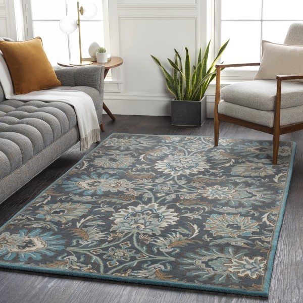 Navy, Wheat, Teal (JUS-1214) Traditional / Oriental Area Rug