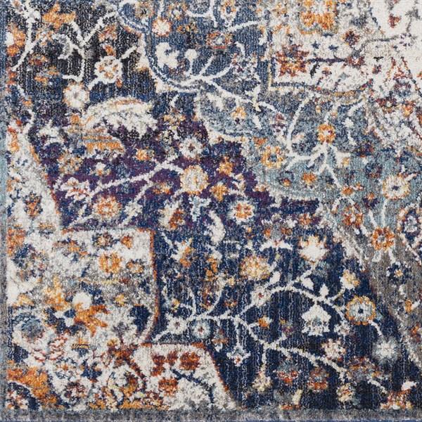 Blue, Orange, Cream Traditional / Oriental Area Rug