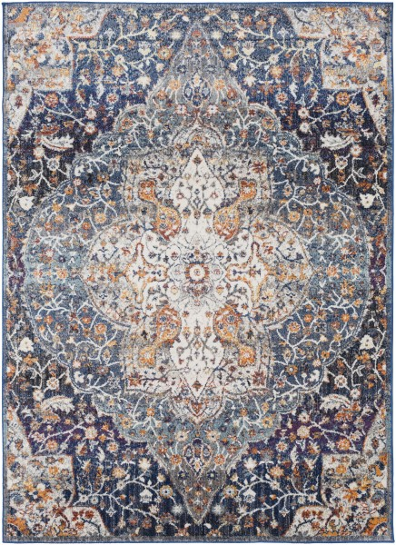 Blue, Orange, Cream Traditional / Oriental Area Rug