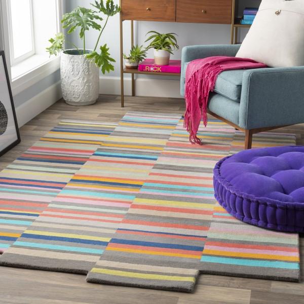 Orange, Khaki, Aqua Contemporary / Modern Area Rug