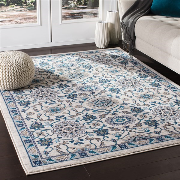Ivory, Blue, Brown Transitional Area Rug