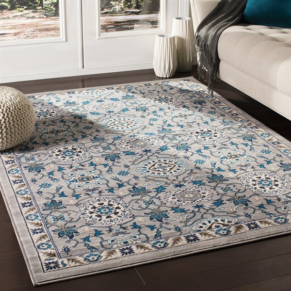 Grey, Blue, Brown Transitional Area Rug