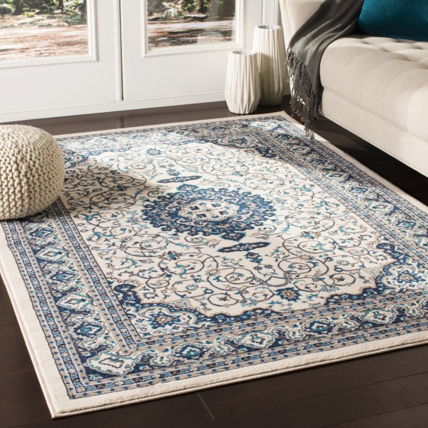 Ivory, Blue, Brown Traditional / Oriental Area Rug