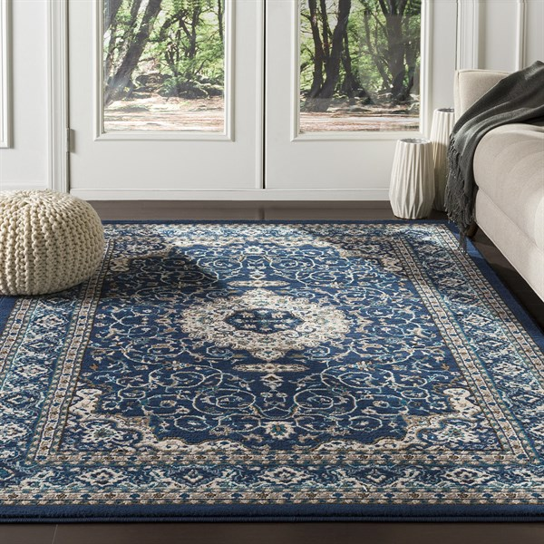 Navy, Brown, Ivory Transitional Area Rug