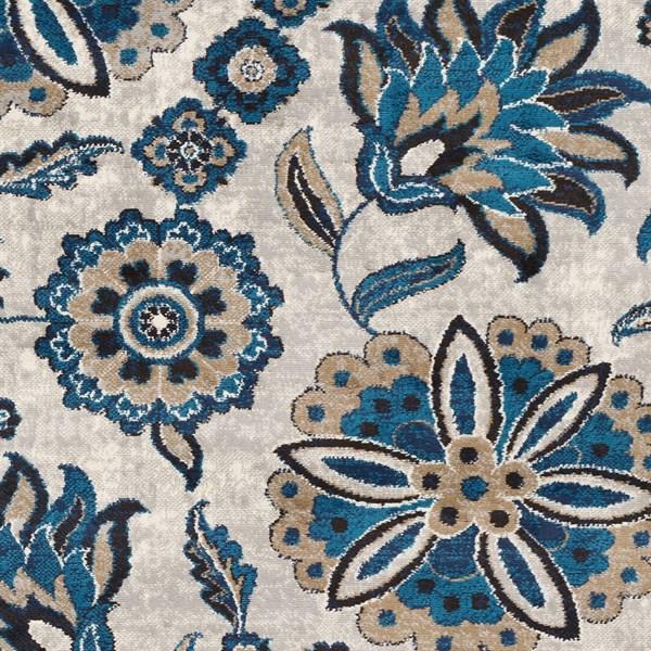 Grey, Blue, Brown Floral / Botanical Area Rug