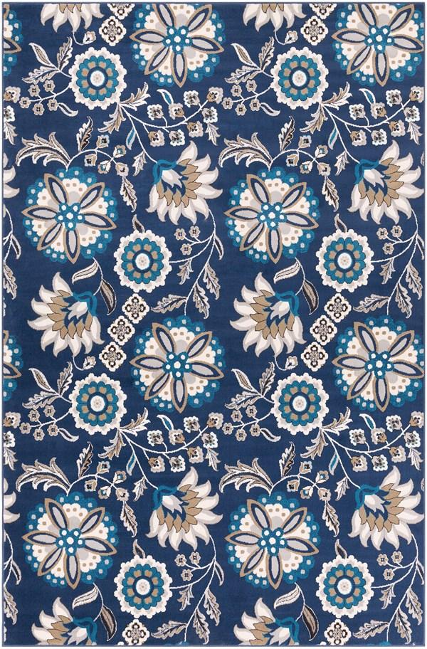 Blue, Brown, Ivory Floral / Botanical Area Rug
