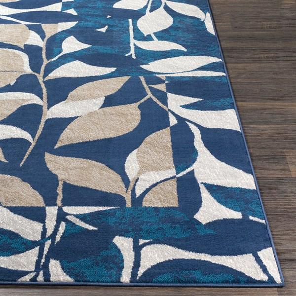 Blue, Tan, Ivory Floral / Botanical Area Rug