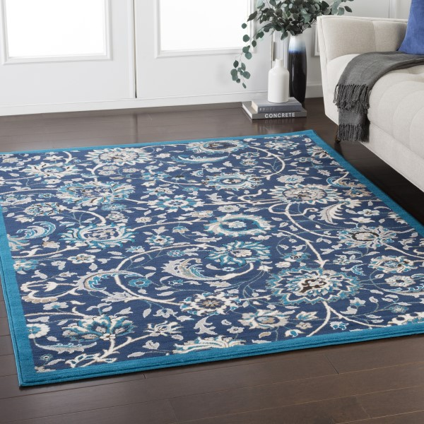 Blue, Ivory, Grey Traditional / Oriental Area Rug