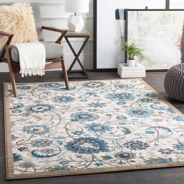 Ivory, Tan, Blue Traditional / Oriental Area Rug