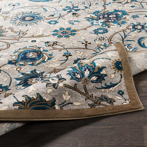 Grey, Brown, Blue Traditional / Oriental Area Rug