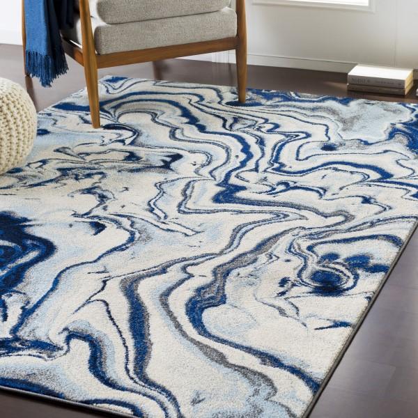 Blue, Ivory, Grey Contemporary / Modern Area Rug