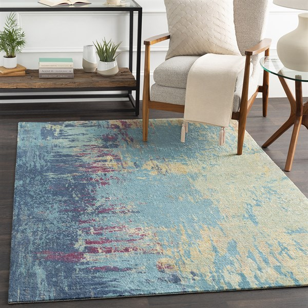 Blue, Green Abstract Area Rug
