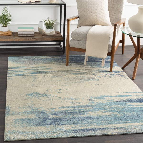 Blue, Taupe Abstract Area Rug