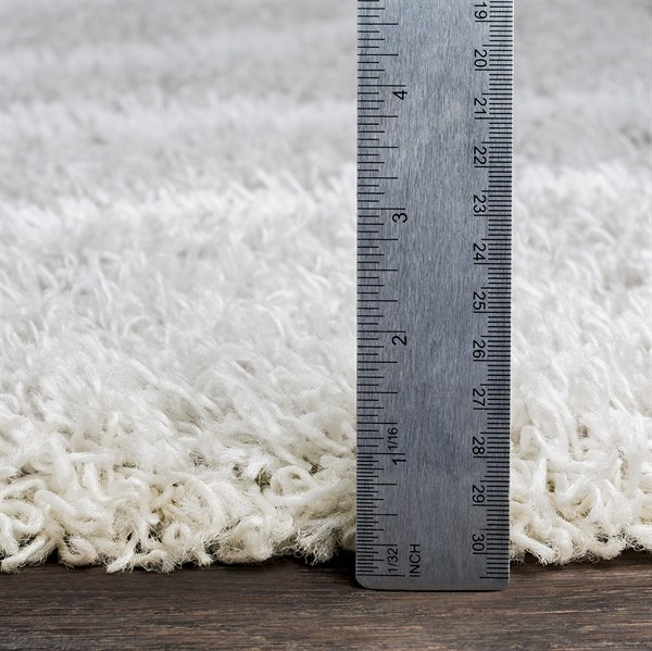 Light Grey, White Shag Area Rug