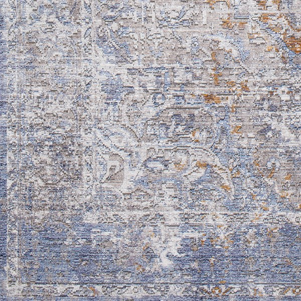 Blue, Orange, Cream Vintage / Overdyed Area Rug