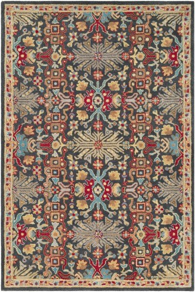 Red, Tan, Charcoal Transitional Area Rug