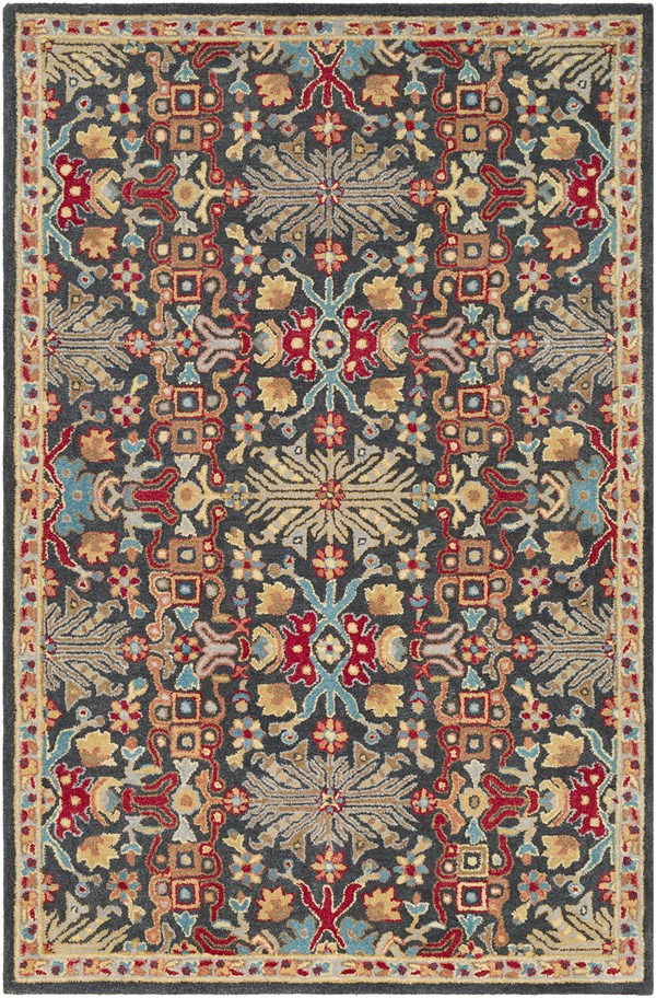 Red, Tan, Charcoal Traditional / Oriental Area Rug