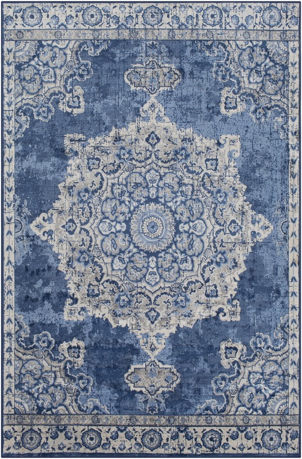 Blue, Grey, Cream Vintage / Overdyed Area Rug