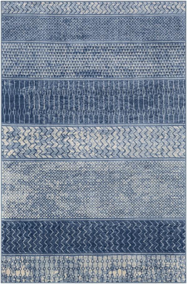 Blue, Navy, Cream Transitional Area Rug