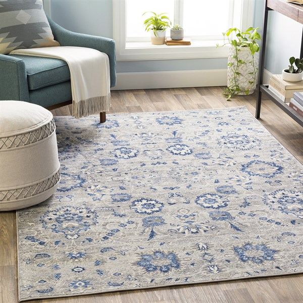 Grey, Blue, Cream Traditional / Oriental Area Rug