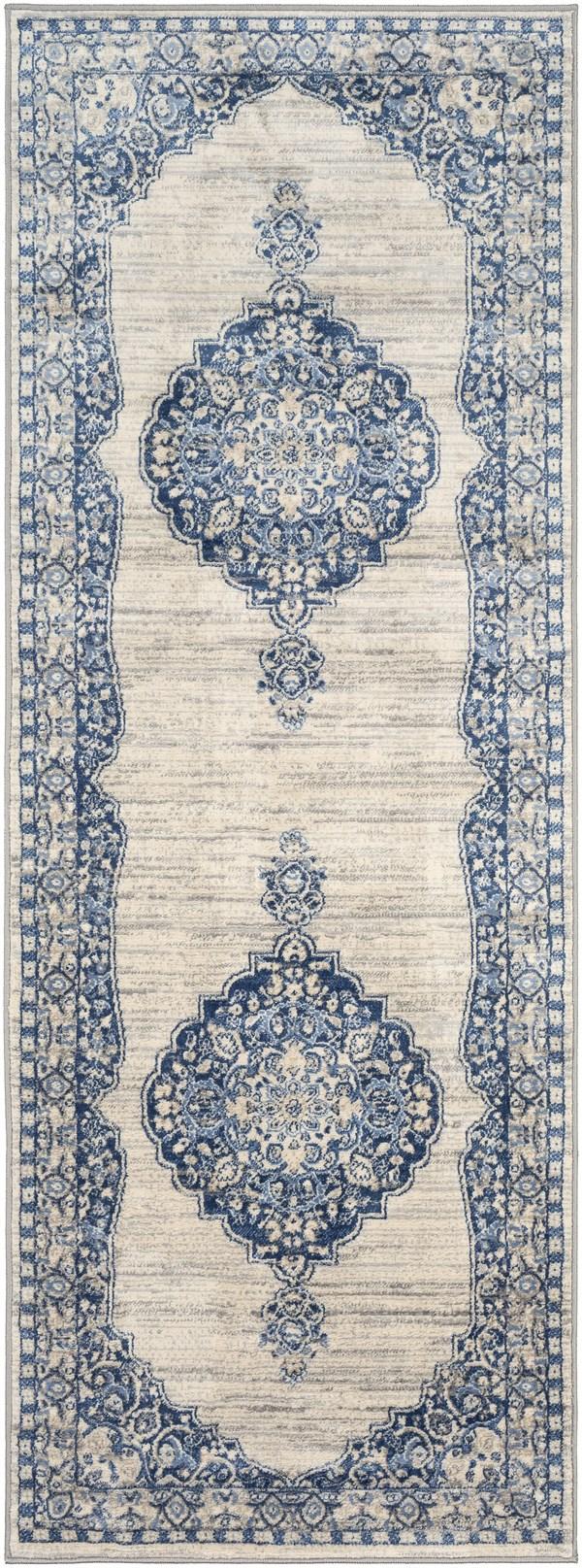 Blue, Cream, Grey Vintage / Overdyed Area Rug